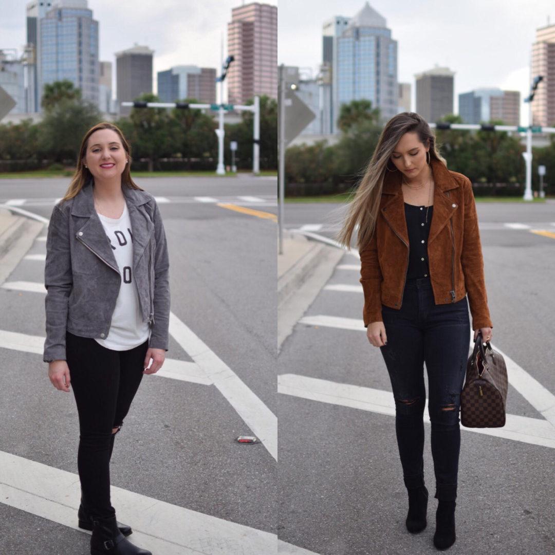 both suede jacket looks
